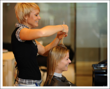Woman with female hairdresser