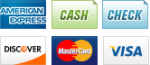 We accept American Express, Cash, Checks, Discover, MasterCard and Visa.